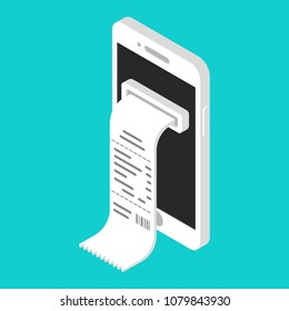 Vector illustration isometric online shopping on smartphone with digital bill ticket
