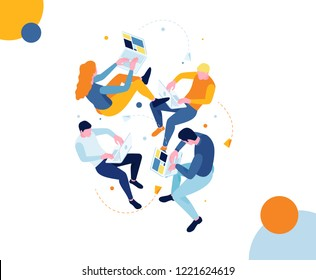 vector illustration. isometric people flying in the air work and communicate on the Internet. communication in social networks and instant messengers. mobile communication of friends through websites
