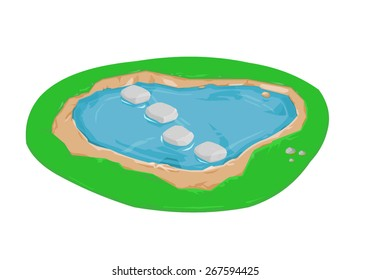 A vector illustration of of an isometric pond or lake with stepping stones. Stepping stones over water. stepping stone bridge.