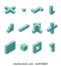 A vector illustration of isometric shapes in different arrangements. Isometric Cubes and shapes. Isometric cubes and square icon set.
