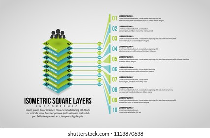 Vector illustration of Isometric Square Layers Infographic design element.