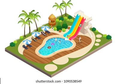 A vector illustration of Isometric View of Swimming Travel Resort