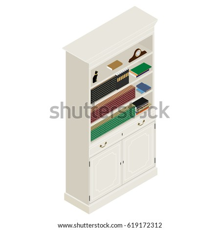 Vector Illustration Isometric White Vintage Cabinet Retro Interior Furniture Bookshelf