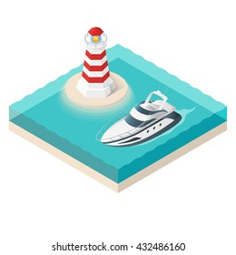 Vector illustration of isometric yacht and a lighthouse on tropical island. Summer vacation.