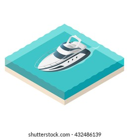 Vector illustration of isometric yacht. Summer vacation.