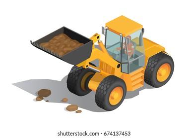 Vector illustration, isometric, yellow bulldozer tractor, construction machine, bulldozer