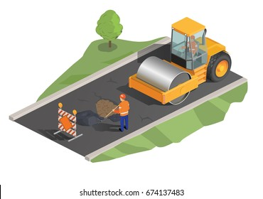 Vector illustration, isometric, yellow road roller, road laying, road works.