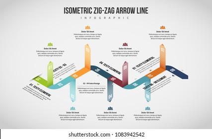 Vector illustration of Isometric Zig-Zag Arrow Line Infographic design element.