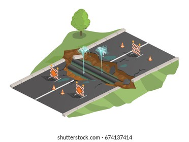 Vector illustration, isometrics, road destruction, earth fracture, road wreck, pipe rupture, water fountain, road accident. Closed zone.
