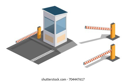 Vector illustration of isometry A barrier, road barrier, protection.