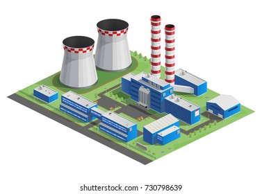 Vector illustration of isometry, cooling tower, hydro power station, factory, infographic, website icon, 3d. Energy production.