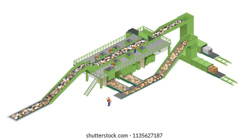 vector illustration isometry. garbage processing plant, garbage processing, ecology, green, nature conservation
