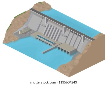 vector illustration isometry. hydroelectric power station, energy, green energy, ecology, blue river, water barrier, lake