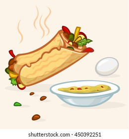 Vector illustration of Israel street falafel roll, plate with hummus and egg. Street food icons
