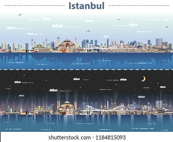 vector illustration of Istanbul city skyline at day and night