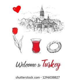 Vector illustration Istanbul with hand drawn doodle turkish symbols: Galata tower, tea glass,simit, tulip.Turkey Sketch.