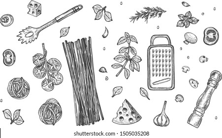 Vector illustration of Italian cuisine ingredients set. Pasta still life. Spaghetti, herbs and spices, basil, tomatoes, cheese grater, pepper mill, strainer. Vintage hand drawn style.