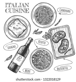 Vector illustration of Italian cuisine set. Plates with carbonara, lasagna, bottle of wine and bruschetta. Vintage hand drawn style.