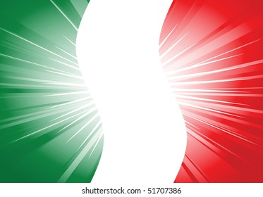 vector illustration of italian flag with flash light