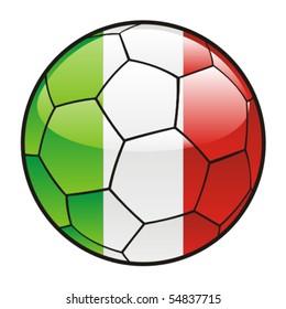 vector illustration of Italy flag on soccer ball, italy,italian