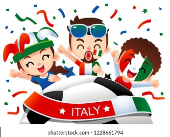 Vector illustration of Italy football fans characters celebrating