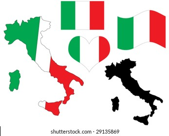 vector illustration of Italy map with flag and heart in national colors