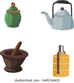 Vector illustration of items in the house with a dark background