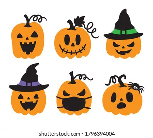 Vector illustration of jack o lanterns. Cute halloween pumpkin with witch hats and spider vector.