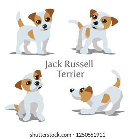 Vector illustration of Jack Russell Terrier in various poses.