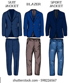 e40a3bec Vector illustration of jackets types: suit jacket, blazer and sport jacket.  Matching pants