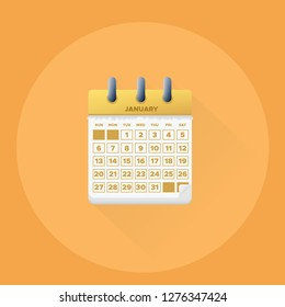 Vector illustration. January month for 2019 Calendar