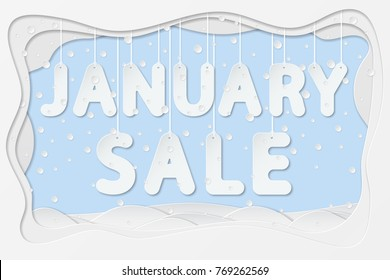 vector illustration of january sale lettering hanging on rope as layered paper cutting art design