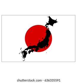 vector illustration of Japan flag and map