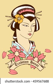 vector illustration of japan geisha with banner and scroll for text
