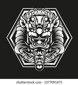vector illustration of japan guardian lion