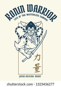 Vector illustration of japan kabuki warrior with katana samurai sword. The japan traditional kanji words means strength.