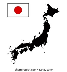 vector illustration of Japan map and flag