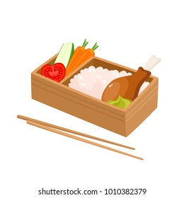 Vector illustration of japanese bento box isolated on white. Traditional asian food with rice, chicken, carrot, wasabi, tomato, cucumber used for magazine, kitchen textile, menu cover, web pages.