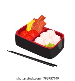 Vector illustration of japanese bento box isolated on white. Traditional asian food with rice, bacon, pepper, wasabi, tomato used for magazine, kitchen textile, menu cover, web pages.