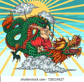 Vector Illustration of japanese dragon hero