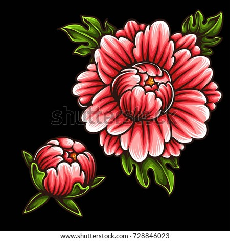 Vector Illustration Japanese Flower Tattoo Style Stock Vector