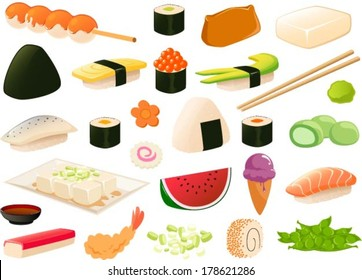 Vector illustration of japanese food.