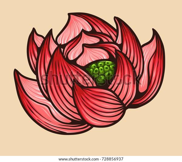 Vector Illustration Japanese Lotus Flower Tattoo Stock Vector