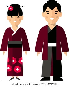 Vector illustration of japanese male and female.  Set of  japanese male and female dressed in national costumes