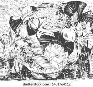 Vector illustration of Japanese print motifs on fabric and wallpaper. Picture with leaves, blooming lotuses flowers buds and koi fish. Vintage hand drawn style