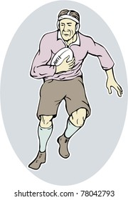 vector illustration of a japanese rugby player running with ball done in cartoon style