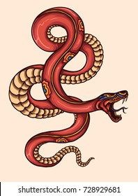 vector illustration of japanese snake tattoo style drawing