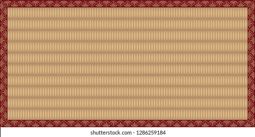 Vector illustration of Japanese Tatami Mat with red colored border design.