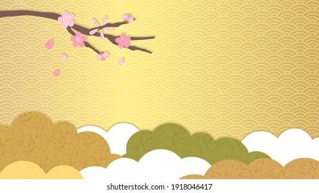 Vector illustration of japanese traditional design. sakura and cloud