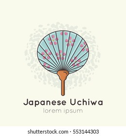 Vector illustration of Japanese traditional fan Uchiwa.  All objects are conveniently grouped and easily editable